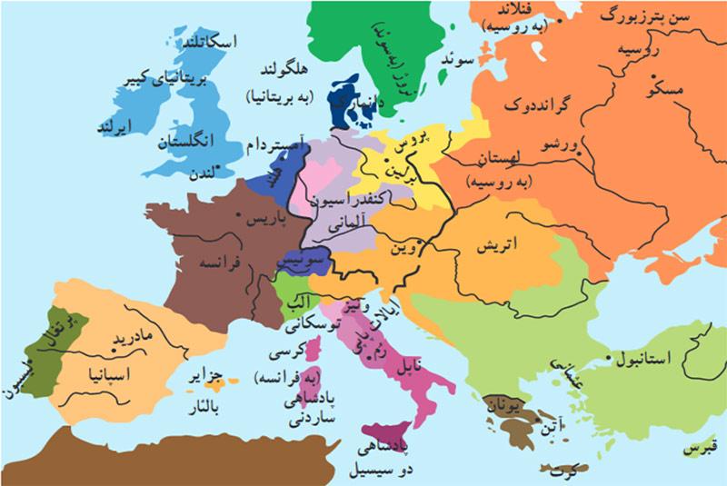 نقشه دنیا در قرن نوزدهم