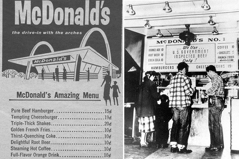 قدیمی ترین منوی رستوران مک دونالد