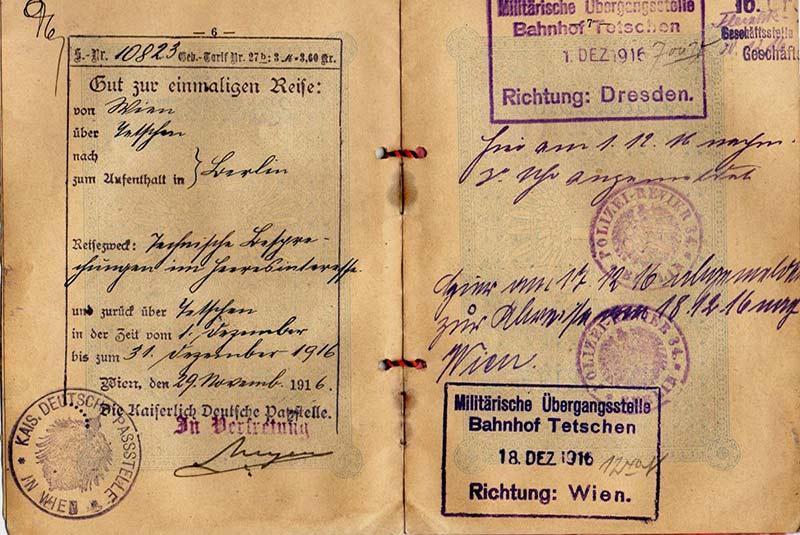 پاسپورت قیصر آلمان در جنگ جهانی اول